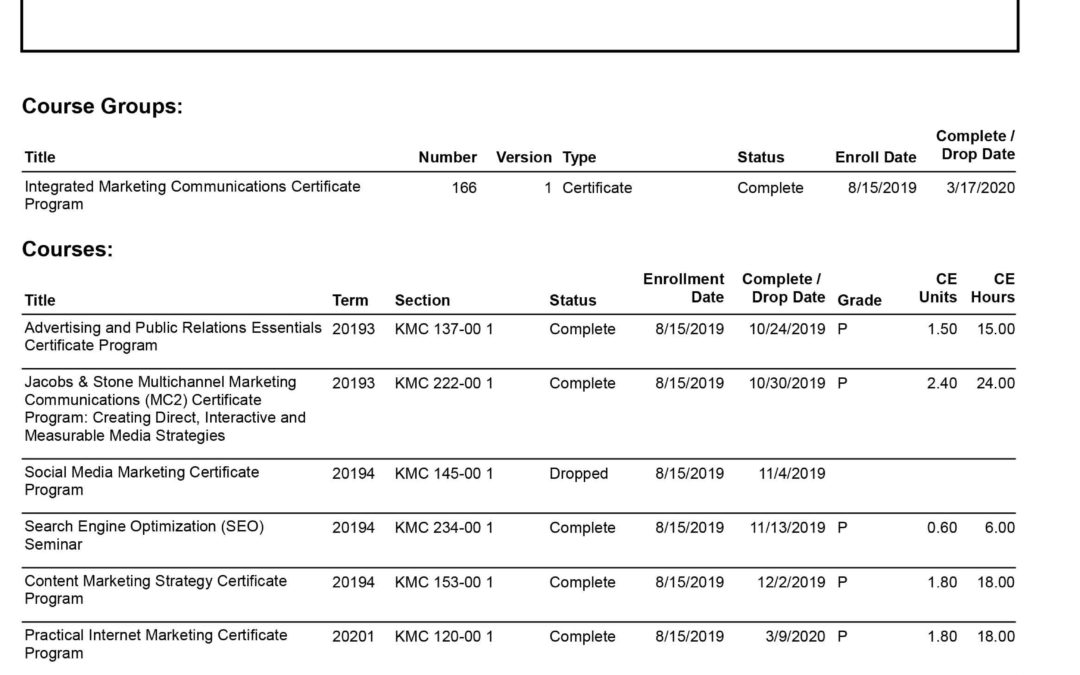 DePaul University - Integrated Marketing Communications Certificate Program